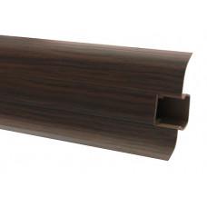 Плинтус напольный 60 мм венге с кабель каналом, матовый (2,5м/шт)