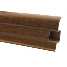 Плинтус напольный 60 мм дуб янтарный с кабель каналом, матовый (2,5м/шт)