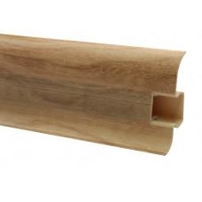 Плинтус напольный 60 мм клен с кабель каналом, матовый (2,5м/шт)