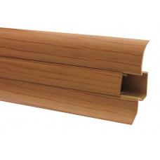 Плинтус напольный 60 мм ольха с кабель каналом, матовый (2,5м/шт)