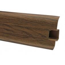Плинтус напольный 60 мм орех с кабель каналом, матовый (2,5м/шт)